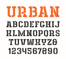 Stencil-plate serif font in urban style