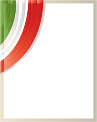 Patriotic border with the Italian flag wave in the corner with blank space.