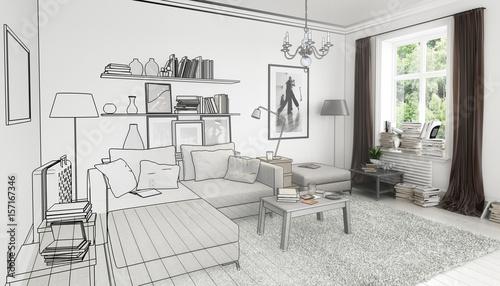Attraktiv Bücher Im Wohnzimmer, Einrichtung Und Dekoration (Illustration)