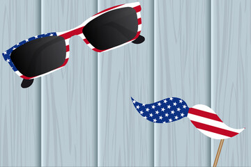 Glasses and mustache design of the American flag. National holiday in America Independence Day. Vector illustration.