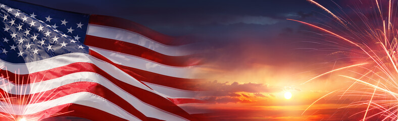 American Celebration - Usa Flag And Fireworks At Sunset