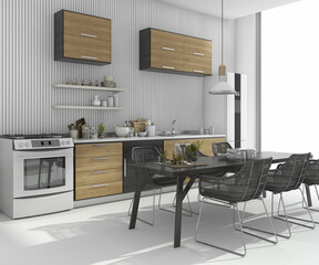 3d rendering nice dining table near wood kitchen bar