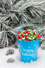 Decorative pail of Christmas candy