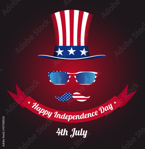 cda276606ea Hat of Uncle Sam. Statue of Liberty in reflection. National holiday in  United States of America Independence Day. Vector illustration EPS 10.