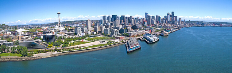 Seattle Downtown Elliott Bay Waterfront Panoramic Wall mural