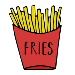 Cartoon doodle french fries vector illustration drawing.