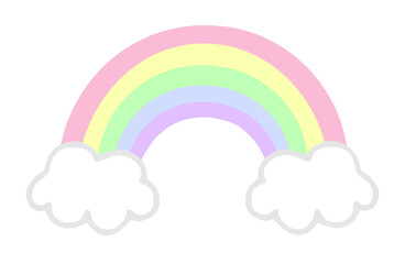 Pastel colorful rainbow with clouds, vector illustration doodle drawing.