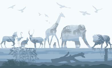 Double exposure, Wild animals with nature