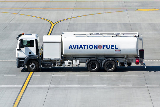 Aviation fuel tanker truck on the taxiway