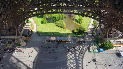 Photo of Eiffel tower base as seen from 1st floor, Paris, France