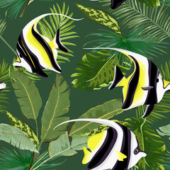 Vector Seamless Floral Palms Summer Graphic with Tropical Fish. For Wallpapers, Backgrounds, Textures, Textile, Cards.