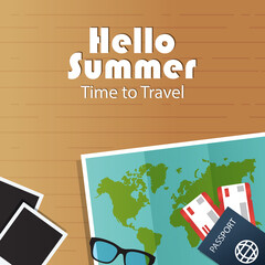 Summer vacation banner. Vector illustration world map, passport with tickets, photo