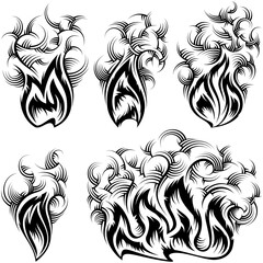 Fire with spurts of flame with swirled smoke; Vector set of monochrome icons in ink hand drawing style for tattoo or print design