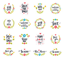 Vector hand drawn typography save the date quote text logo badge design wedding for greeting cards or invitations illustration