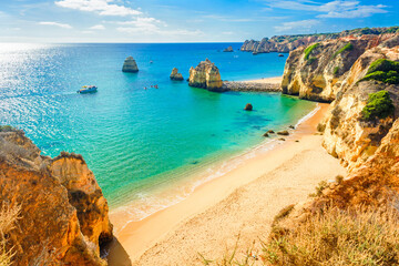 Beautiful sandy beach near Lagos in Panta da Piedade, Algarve, Portugal