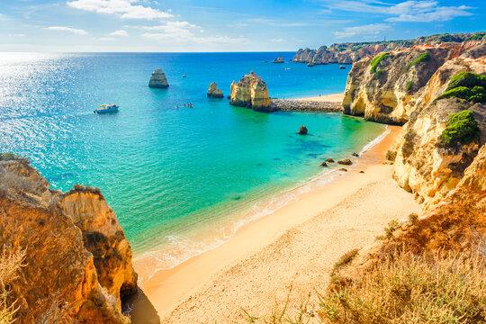Beautiful sandy beach near Lagos in Panta da Piedade, Algarve, Portugal