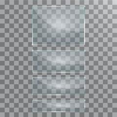 Vector modern transparent glass plates set on sample background.