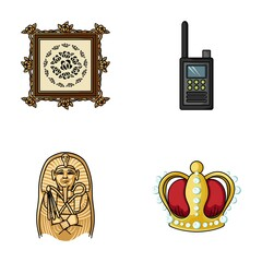 Picture, sarcophagus of the pharaoh, walkie-talkie, crown. Museum set collection icons in cartoon style vector symbol stock illustration web.