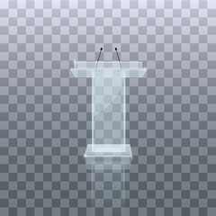 Transparent Podium Tribune Rostrum Stands with Microphones on a white background