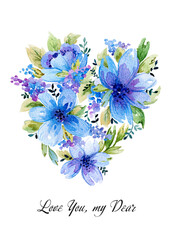 Watercolor illustration with blue floral heart.
