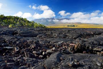 Rough surface of frozen lava after Mauna Loa volcano eruption on Big Island, Hawaii