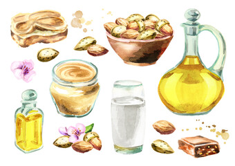 Almonds products set. Watercolor hand drawn