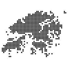 Точечная, оригинальная карта дистрикта Гонконг. Векторная иллюстрация.