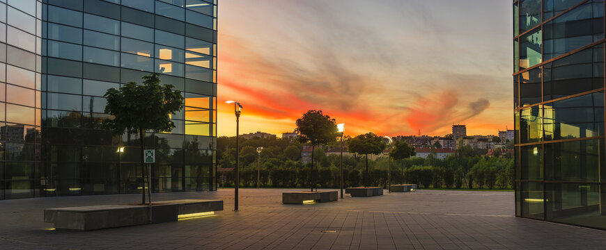 Modern office building in the sunset light