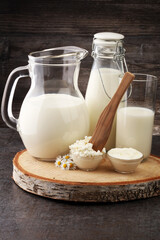 milk products - tasty healthy dairy products on a table sour cre