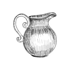 Sketch of Milk jug isolated, Hand drawn illustration, Vector sketch.