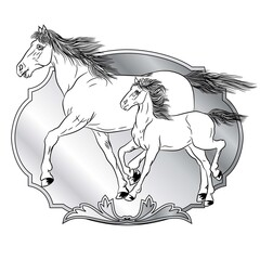 Horses with shields design - animals with heraldic design elements.