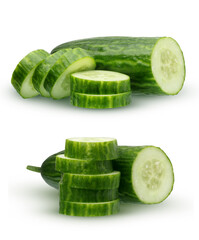 Cucumber with smooth skin, isolated on white background.