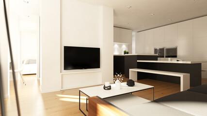 Blick vom Sofa auf Fernseher Apartment
