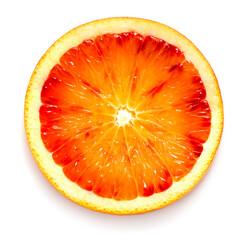 slice of blood orange isolated on white background