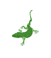 Green vintage lizard tattoo isolated on white background