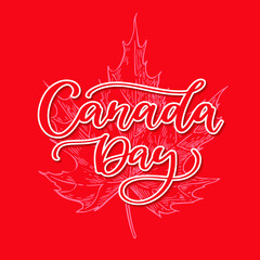 Happy Canada day vector card. Handwritten lettering with maple. Calligraphy sticker.