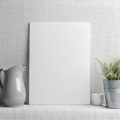 White poster on gray textile background, 3d illustration