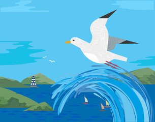 Sea gull flying. Freehand cartoon style. Seabird marine symbol. Stylized nautical animal sign. Blue ocean waves, green mountains. Seaside scenic element for banner background. Vector illustration