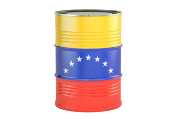 Oil barrel with flag of Venezuela. Oil production and trade concept, 3D rendering