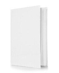Book with blank cover on white background