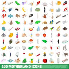 100 motherland icons set, isometric 3d style