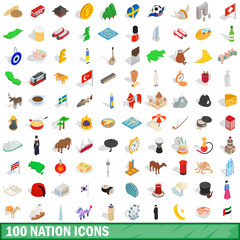 100 nation icons set, isometric 3d style