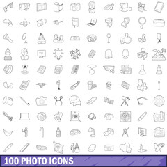 100 photo icons set, outline style