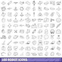 100 robot icons set, outline style