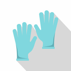 Blue medical gloves icon, flat style