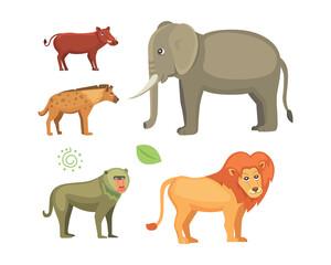 African animals cartoon vector set. safari isolated illustration