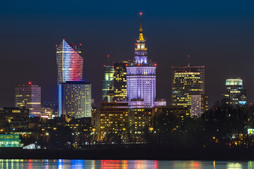 Night panorama of Warsaw skyline