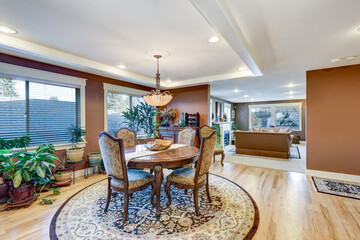 Craftsman home dining room interior with open floor plan