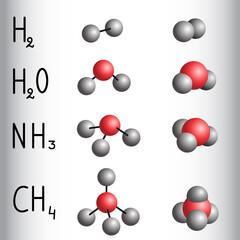 Chemical formula and molecule model of hydrogen , water,  ammonia,  methane