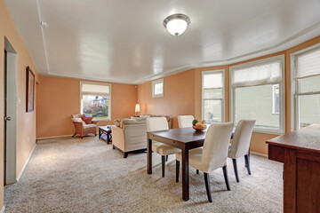 Cozy living and dining room interior with peach walls